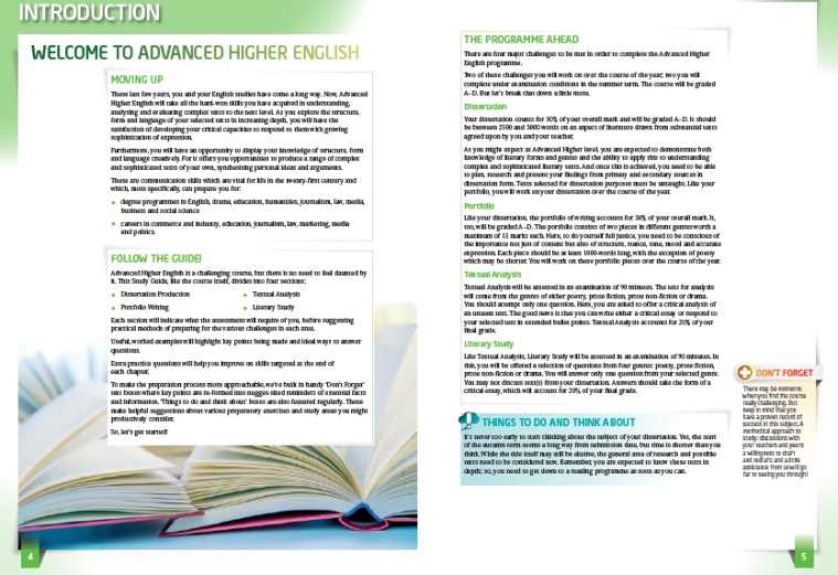 Advanced Higher English sample spread