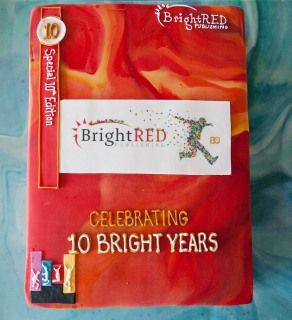Cake in the shape of a Bright Red book