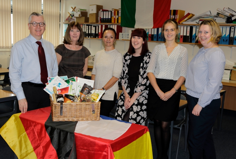 A picture of the Modern Languages teachers at Hermitage Academy with the winning hamper