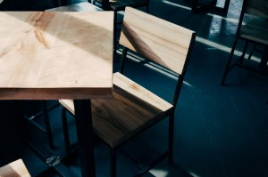 Table and chair in an exam hall