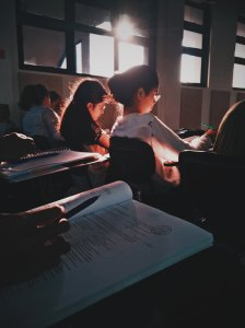 Female students studying in a classroom setting